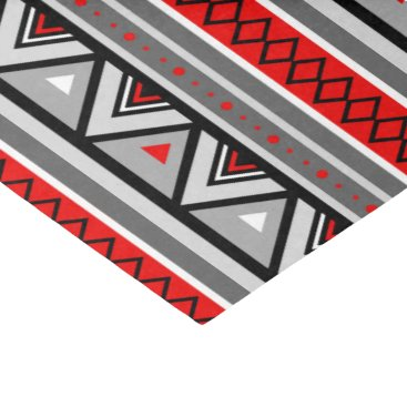 Aztec Themed Modern Southwestern Geometric, Red & Gray / Grey Tissue Paper