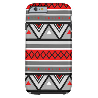 Modern Southwestern Geometric, Red & Gray / Grey Tough iPhone 6 Case