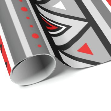 Aztec Themed Modern Southwestern Geometric, Red & Gray / Grey Wrapping Paper