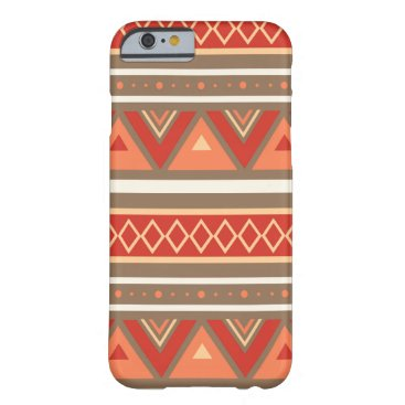 Aztec Themed Modern Southwestern Geometric, Taupe & Orange Barely There iPhone 6 Case