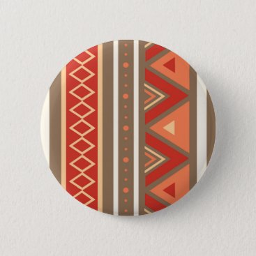 Aztec Themed Modern Southwestern Geometric, Taupe & Orange Button