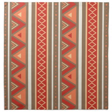 Aztec Themed Modern Southwestern Geometric, Taupe & Orange Cloth Napkin