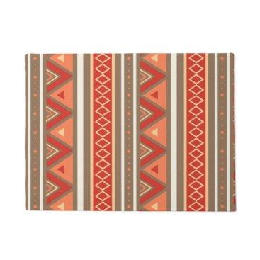 Aztec Themed Modern Southwestern Geometric, Taupe & Orange Doormat