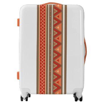 Aztec Themed Modern Southwestern Geometric, Taupe & Orange Luggage