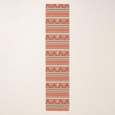 Aztec Themed Modern Southwestern Geometric, Taupe & Orange Scarf