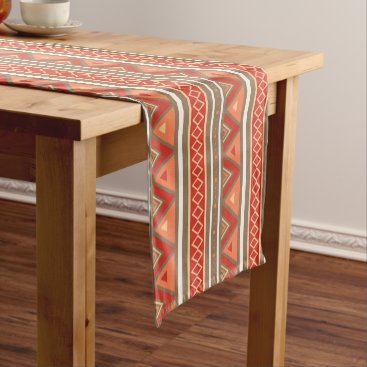 Aztec Themed Modern Southwestern Geometric, Taupe & Orange Short Table Runner