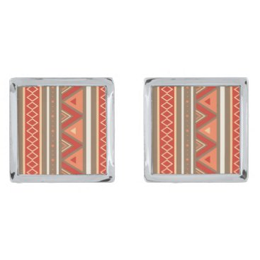 Aztec Themed Modern Southwestern Geometric, Taupe & Orange Silver Cufflinks