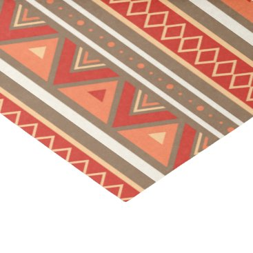 Aztec Themed Modern Southwestern Geometric, Taupe & Orange Tissue Paper