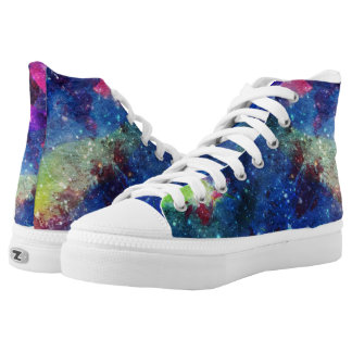 Modern space starry galaxy painting High-Top sneakers