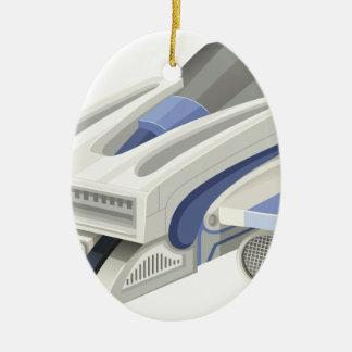 Modern spaceship flying on white background ceramic ornament