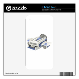 Modern spaceship flying on white background decals for the iPhone 4