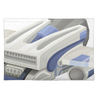 Modern spaceship flying on white background placemat