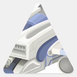 Modern spaceship flying on white background triangle sticker