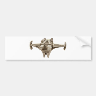 Modern spaceship with wings bumper sticker