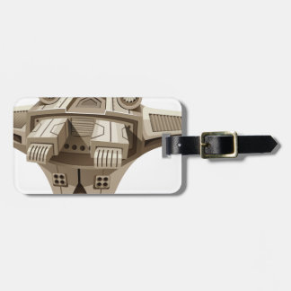 Modern spaceship with wings luggage tag
