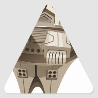 Modern spaceship with wings triangle sticker