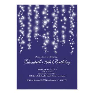 Modern Sparkle Blue Sweet Sixteen Birthday Party Card