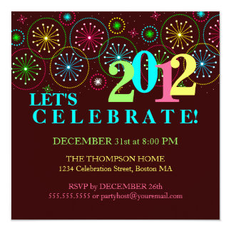 """Modern Sparkle New Years Eve Party Invitation 5.25"""" Square Invitation Card"""
