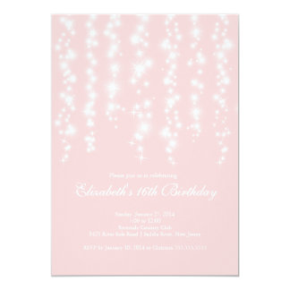 Modern Sparkle Pink Sweet Sixteen Birthday Party 5x7 Paper Invitation Card