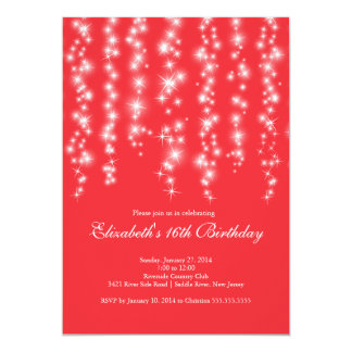 Modern Sparkle Red Sweet Sixteen Birthday Party Card