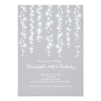 Modern Sparkle Silver Sweet Sixteen Birthday Party Card