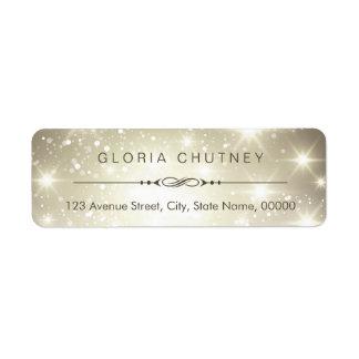 Modern Sparkling Bokeh Glitter Look Label
