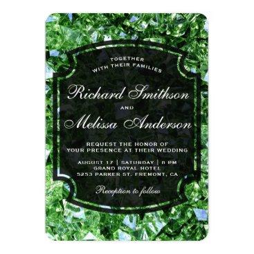 Wedding Themed Modern Sparkling Green Diamonds Wedding Invitation