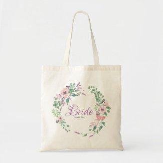 Modern Spellbound Flowers Wreath Bride Typography