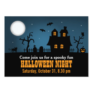 Modern Spooky Haunted House Halloween Party Personalized Announcements