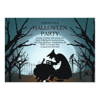 """Modern Spooky Witch Halloween Party Invitation 5"""" X 7"""" Invitation Card"""