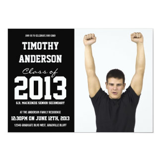 Modern Sports Theme Photo Graduation Party 5x7 Paper Invitation Card