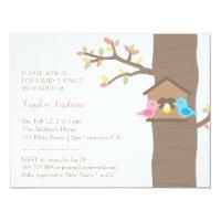 Bird baby shower invitations announcements zazzle modern spring birdhouse nest bird baby shower filmwisefo