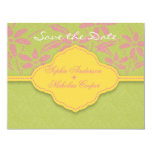 Modern spring damask flower save the date card announcements
