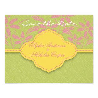 "Modern spring damask flower save the date card 4.25"" x 5.5"" invitation card"
