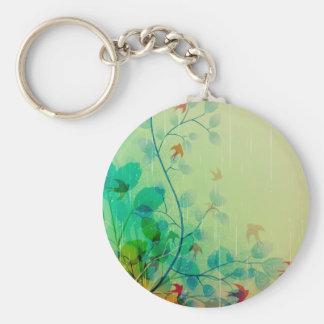 Modern Spring Floral Abstract Art Basic Round Button Keychain