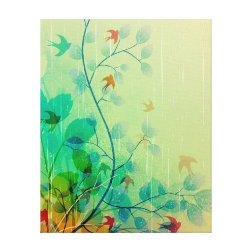 Modern Spring Floral Abstract Art Stretched Canvas Print