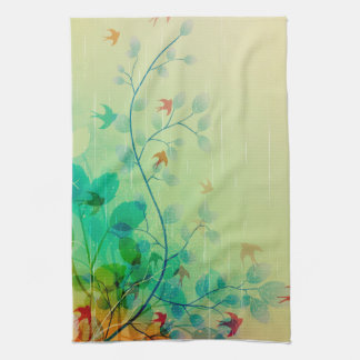 Modern Spring Floral Abstract Art Kitchen Towels