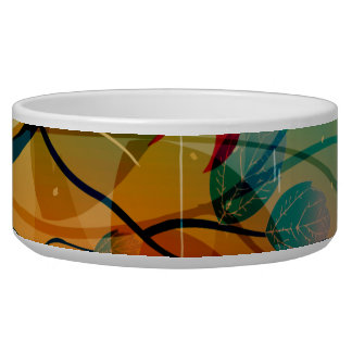 Modern Spring Floral Abstract Art Pet Water Bowl