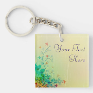 Modern Spring Floral Abstract Art Single-Sided Square Acrylic Keychain