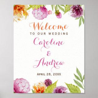 Modern Spring Floral Blossom Welcome Wedding Sign
