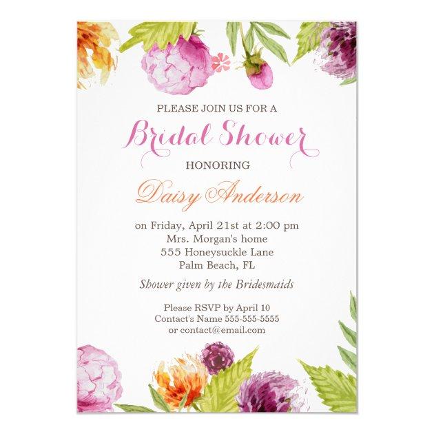 Modern Spring Floral Decor Wedding Bridal Shower 5x7 Paper Invitation Card