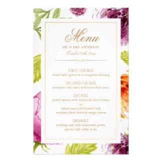 Modern Spring Floral Easy Edit Wedding Dinner Menu