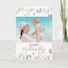 Modern Spring Floral Photo Happy Mother's Day Card