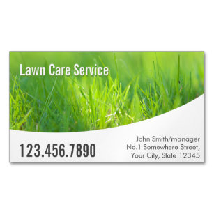 Garden service business cards templates zazzle modern spring green lawn care business card magnet reheart Gallery