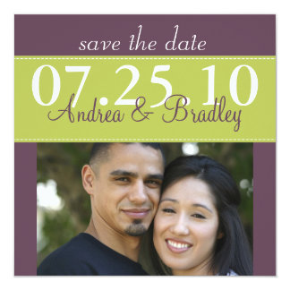 Modern Spring Green Purple Wedding Save the Date 5.25x5.25 Square Paper Invitation Card