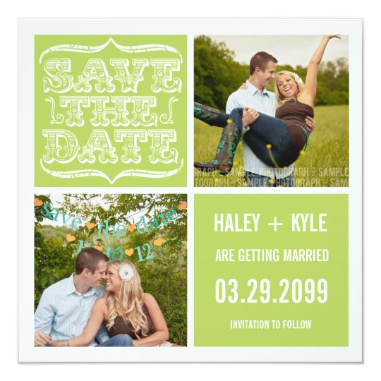 Modern Spring Green Save the Date Photo Cards