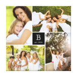 Modern Square Family Monogram Photo Collage Canvas<br><div class='desc'>Designed by fat*fa*tin. Easy to customize with your own text,  photo or image. For custom requests,  please contact fat*fa*tin directly. Custom charges apply.  www.zazzle.com/fat_fa_tin www.zazzle.com/color_therapy www.zazzle.com/fatfatin_blue_knot www.zazzle.com/fatfatin_red_knot www.zazzle.com/fatfatin_mini_me www.zazzle.com/fatfatin_box www.zazzle.com/fatfatin_design www.zazzle.com/fatfatin_ink</div>