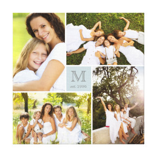 Modern Square Family Monogram Photo Collage Canvas
