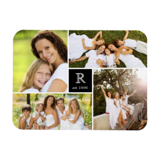 Modern Square Family Monogram Photo Collage Magnet