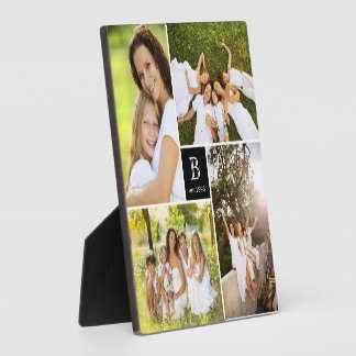 Modern Square Family Monogram Photo Collage Plaque